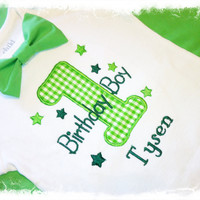 BOYS FIRST BIRTHDAY Outfit with Name and Bow Tie-Green Gingham 1  with Green Bow Tie-Cake Smash Outfit