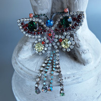 Vintage Brooch Czech Multicolor Ornate Butterfly Rhinestones Large with Dangles