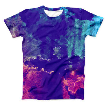 The Blue & Purple Grunge ink-Fuzed Unisex All Over Full-Printed Fitted Tee Shirt