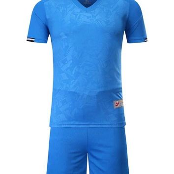 2018 blue  Boys Kids Training T-shirts children sets runing football kits soccer team jersey Sports Athletic wear polo shirt