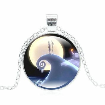 XUSHUI XJ Jack and Sally Nightmare Before Christmas Necklaces & Pendants Women Fashion Jewelry Silver Color Chain Necklace Gifts