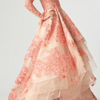 Embroidered Floral V-Neck High-Low Gown | Moda Operandi