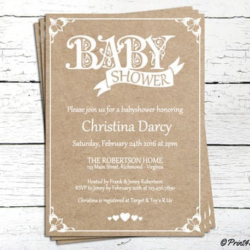 Craft Paper Baby Shower Invite // Decorative Craft Paper White Text Baby Shower Invitation // Baby Shower Invite // Baby Shower