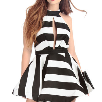 Flowy Striped Halter Dress