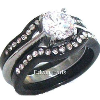 3 Piece Black Band Wedding Ring Round Brilliant Cut Cubic Zirconia Wedding Ring Set