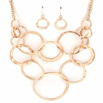 Delilah's Hammered Gold Circle Necklace Set