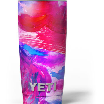 Splatter Blue and Red Oil Yeti Rambler Skin Kit