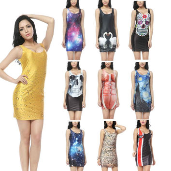 NADANBAO Vintage Dresses 3D Pills Dress Tank Digital Printed Sexy Mini Bodycon Women Summer Party Club Black Milk Clothing