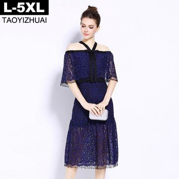 Elegant Cape Cloak Sleeve Lace Dress For Women Summer Blue Color Slash Neck Sheath Women Dress