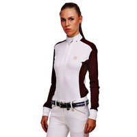 George H Morris Ladies Champion Long Sleeve Show Shirt - White/Wine