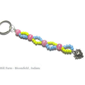Spring Pastels Keychain -  Blue Yellow and Pink with a Heart Charm - Handcrafted item #20150005