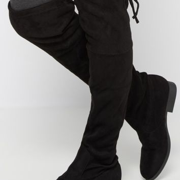 Black Mock Suede Thigh High Boot | Over the Knee Boots | rue21