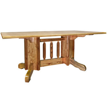 Montana Woodworks Homestead Double Pedestal Dining Table Stained and Lacquered