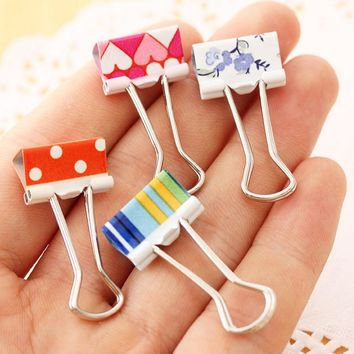 cute Metal Material love/striped/dot Paper Clips gold silver color funny kawaii bookmark office shool stationery marking clips