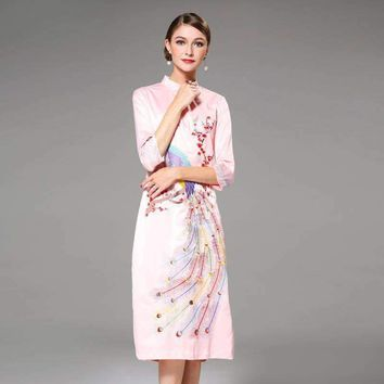 High Quality 2018 Early Spring Newest Peacock Cheongsam Embroidery Dress for New Year women Pleated Party Dresses