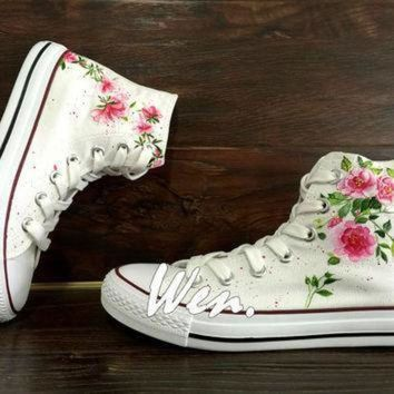ICIKGQ8 wen original design floral converse wedding flowers shoes hand painted shoes custom co