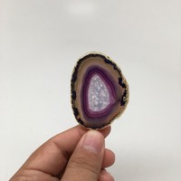 111.5 cts Purple Agate Druzy Slice Geode Pendant Gold Plated Brazil, Bp1078