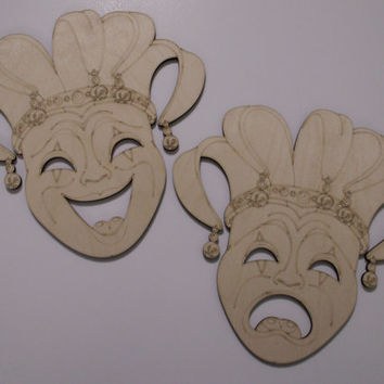 Tragedy & Comedy Court Jester Masks, Theatrical Masks, Laser Cut Wood Shapes, Mardi Gras, Home Decor, Wreaths, Door Hangers, Ready to Paint