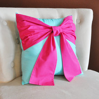 CYBER MONDAY SALE Throw Pillow Hot Pink Bow on Bright Aqua Pillow 14x14 -Tiffany Blue Pillow-