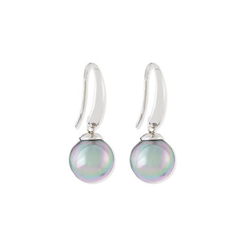 Gray Pearl Silver Drop Earrings - Majorica