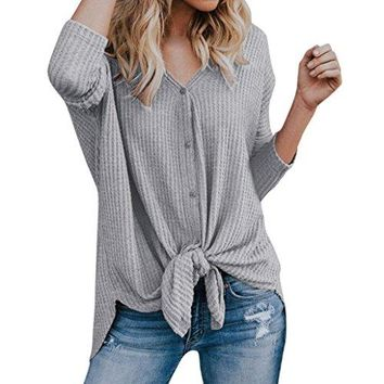 TOOPOOT Women Blouse,Loose Knit Tunic Half Sleeve Blouse Tie Knot Henley Tops Bat Wing Plain Shirts