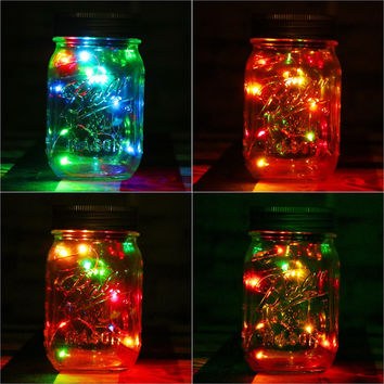 1pc Solar Mason Jar Fairy Light With Color Changing Or White LED for Glass Jars Party Decor Solar Mason Jar Lid Insert
