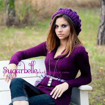 Purple Slouchy Hat Chunky Crochet Hat Winter by foreverandrea