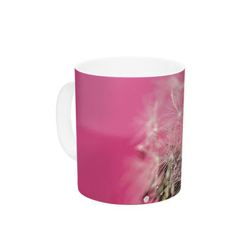 "Beth Engel ""Pink Twilight"" Magenta Dandelion Ceramic Coffee Mug"