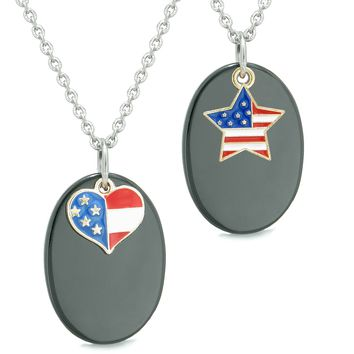 Proud American Flag Super Cute Heart and Star Love Couples BFF Set Black Agate Amulet Necklaces