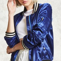 Ruched Satin Bomber Jacket