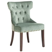 Hourglass Dining Chair - Smoke Blue Damask