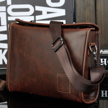 coffee leather crossbody bag