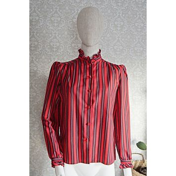 Vintage Stripe  High-Neck Blouse