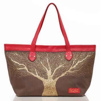 Sepia and Red Golden Roots Tote