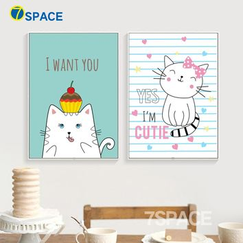 7-Space Animals Naughty Cats Canvas Painting Modern Wall Pictures Kids Room Home Decoration Posters And Prints Wall Art Canvas