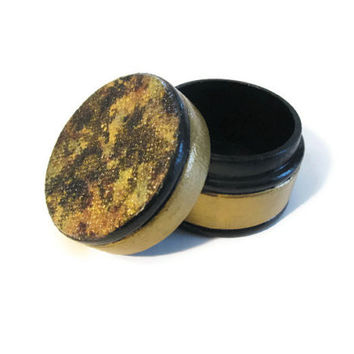 Decorative Ring Box hand painted in gold and black, decoupaged top, mini round wooden trinket box, small pill box, fancy gift box
