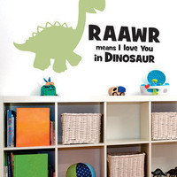 Wallquotes.com by Belvedere Designs - Black & Celadon 'Raawr Dinosaur' Wall Quote