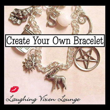 Supernatural Jewelry - Create Your Own Supernatural Bracelet - Simple Charm Bracelet - Choose From Over 90 Charms