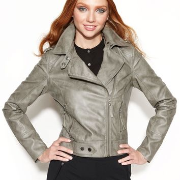RACHEL Rachel Roy Jacket, Faux-Leather Asymmetrical Moto - Coats - Women - Macy's
