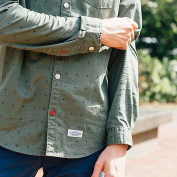 CPO Knott Multi Dot Button-Down Shirt- Olive