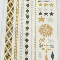 Temporary Metallic Jewelry Gold Silver Flash Tattoos - Variation 12