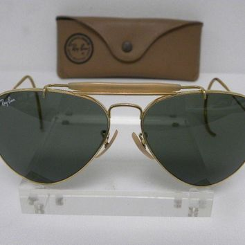 Vintage B&L Ray Ban Outdoorsman Gold Cable Wrap G-15 58mm Aviator Sunglasses USA