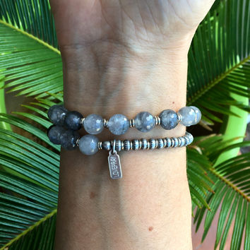 Healing, Faceted Cloudy Rock Crystal 27 Bead Wrist Mala Bracelet