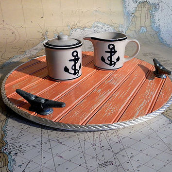Wood Lazy Susan - Turntable Food Tray - Nautical Kitchen Decor - Galvanized Boat Cleats - Beach Cottage Housewares - Seaside Marine Rope