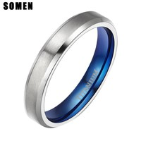 4mm Blue Inlay Titanium Rings For Women Fashion Wedding Love Rings Female Engagement Promise Jewelry anillos mujer sieraden
