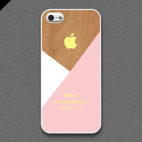 iPhone 5 Case  Pastel pink layered on wood pattern by evoncase