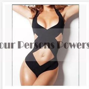 New Woman Siamese For Sexy One Piece Swimsuit monokini black bandage overlapping Vintage Bathing Suits LT41 CF