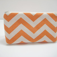 Chevron Cosmetic Bag, Orange Chevron Cosmetic Pouch, Accessory Pouch, Zippered Pouch with Elephant Print Lining, Ready to Ship