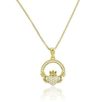 Yellow Gold Tone Silver Cz Celtic Claddagh Necklace