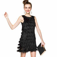 Black Fringed Sleeveless Dress